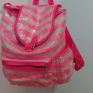 Justice sparkly pink and grey backpack
